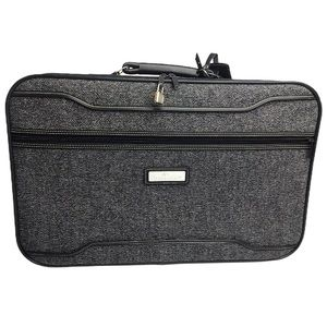 Jordache Vintage Navy Tweed Knit Travel Suit Case